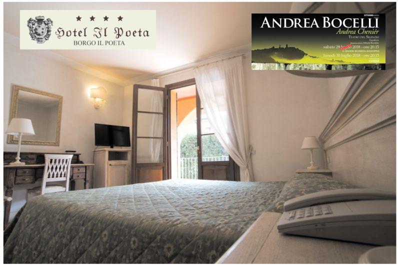 Promozione camera matrimoniale Hotel Il Poeta  - Offerta Hotel concerto Bocelli a Laiatico