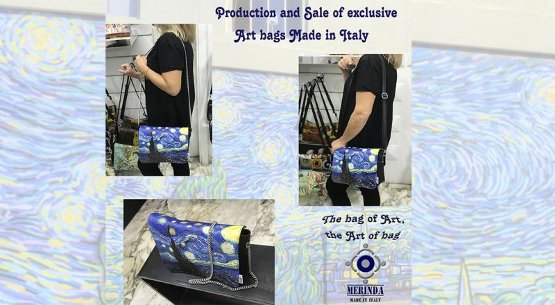 Merinda - OFFERTA VENDITA ONLINE ZAINI E BORSE ARTE MADE IN ITALY  VAN GOGH STARRY NIGHT