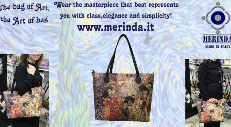 MERINDA - Offer production sale art bags art backpacks made in Italy Klimt the kiss