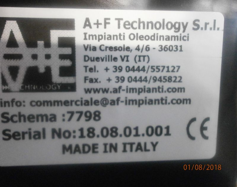 OFFERTA CENTRALINE OLEODINAMICHE A+F TECHNOLOGY SRL VICENZA